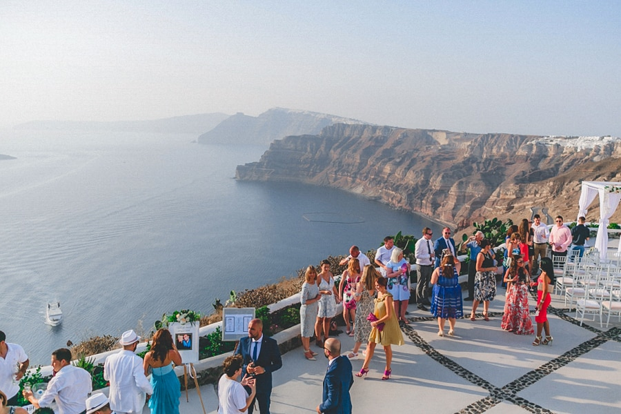 wedding party in santorini