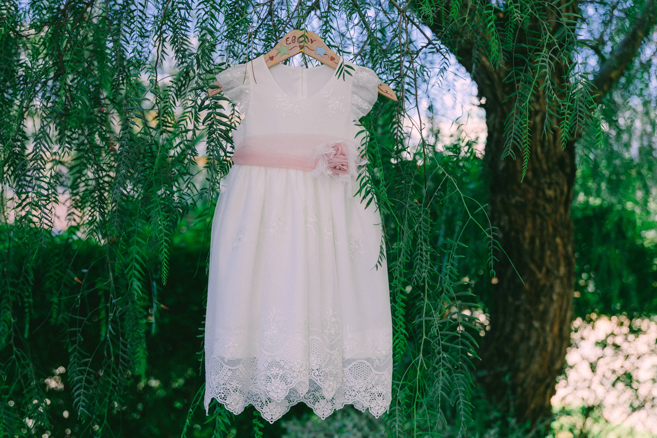 the baptism dress over the tree